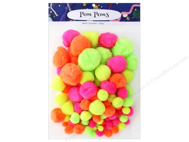 PA Essentials Pom Poms Variety Pack 100 pc. Assorted Neon
