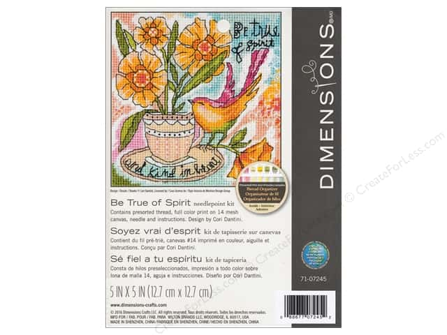 "Dimensions Needlepoint Kit 5""x 5"" Be True Of Spirit"