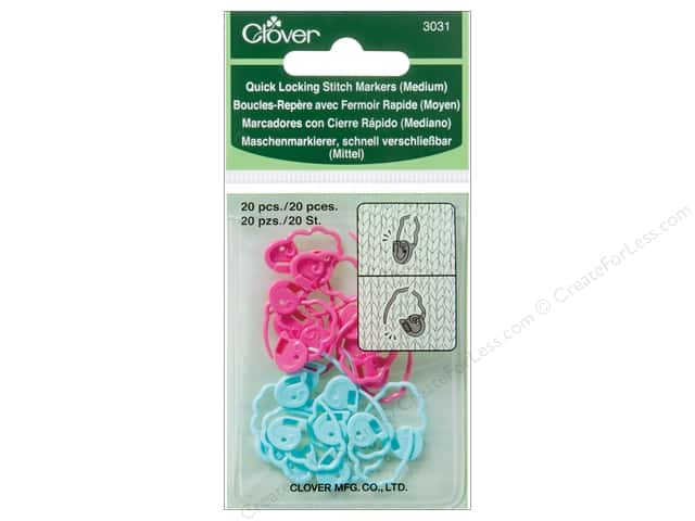 Clover Quick Locking Stitch Markers 20 pc. Medium
