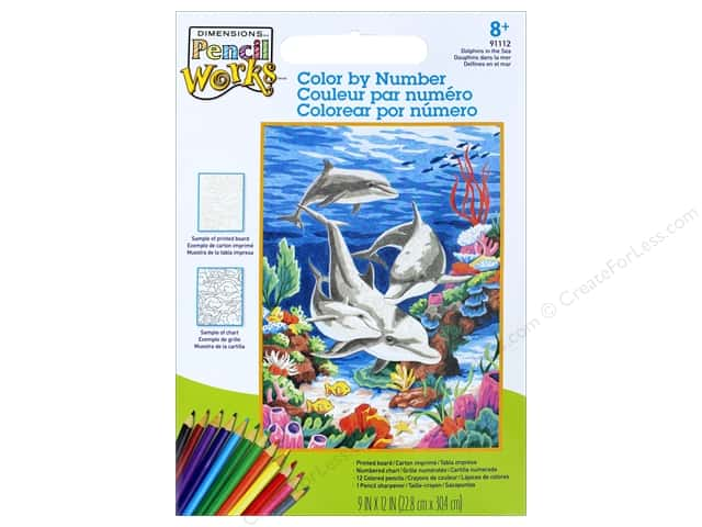 """Dimensions Color By Number 9""""x 12"""" Dolphins By The Sea"""