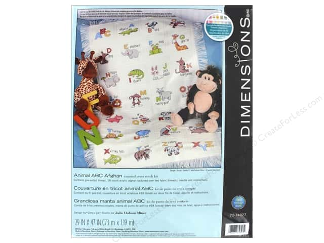 Dimensions Cross Stitch Kit Animal ABC Afghan