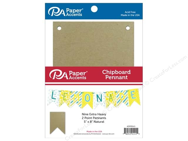 Paper Accents Chipboard Pennants 5 x 8 in. Two Point 9 pc. Natural