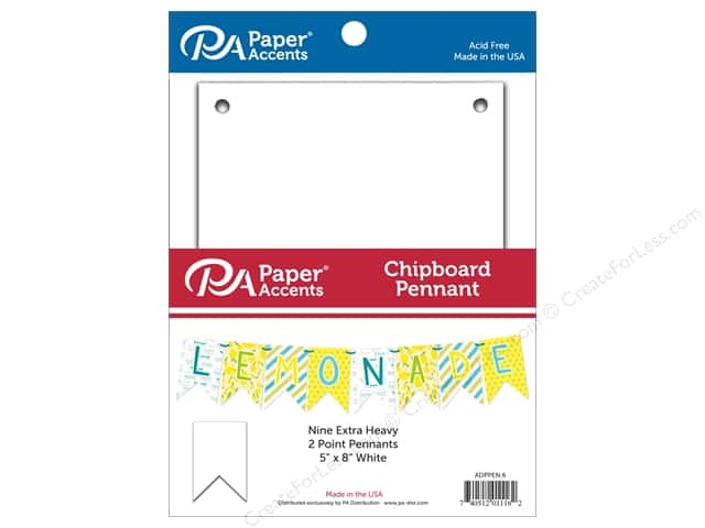 Paper Accents Chipboard Pennants 5 x 8 in. Two Point 9 pc. White