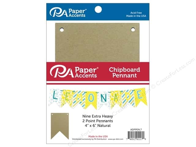 Paper Accents Chipboard Pennants 4 x 6 in. Two Point 9 pc. Natural