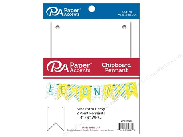 Paper Accents Chipboard Pennants 4 x 6 in. Two Point  9 pc. White