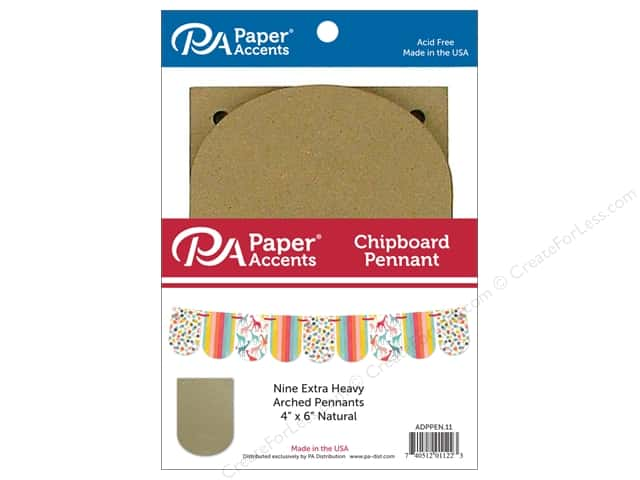 Paper Accents Chipboard Pennants 4 x 6 in. Arched 9 pc. Natural