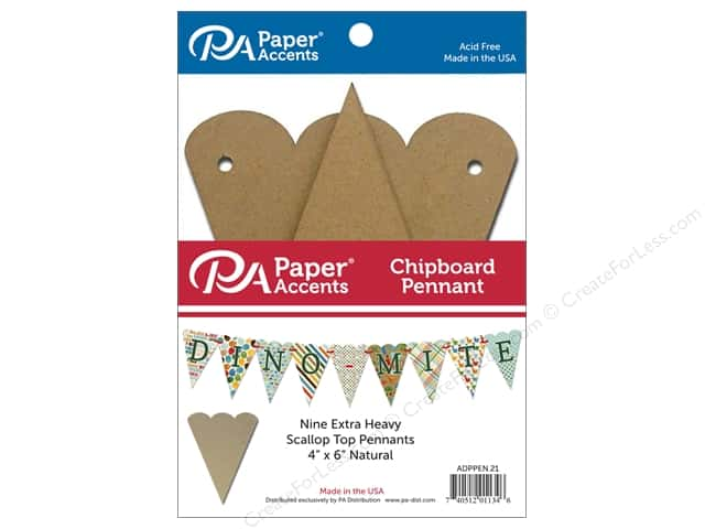 Paper Accents Chipboard Pennants 4 x 6 in. Scalloped Top 9 pc. Natural
