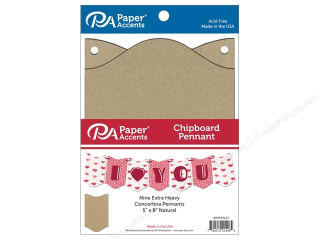 Paper Accents Chipboard Pennants 5 x 8 in. Concertina 9 pc. Natural