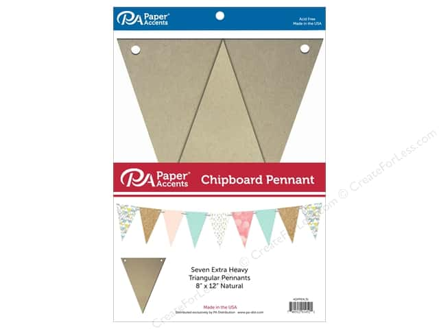 Paper Accents Chipboard Pennants 8 x 12 in. 7 pc. Natural