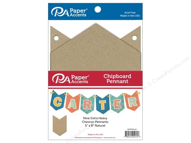 Paper Accents Chipboard Pennants 5 x 8 in. Chevron 9 pc. Natural
