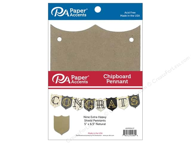 Paper Accents Chipboard Pennants 5 x 6 1/2 in. Shield 9 pc. Natural