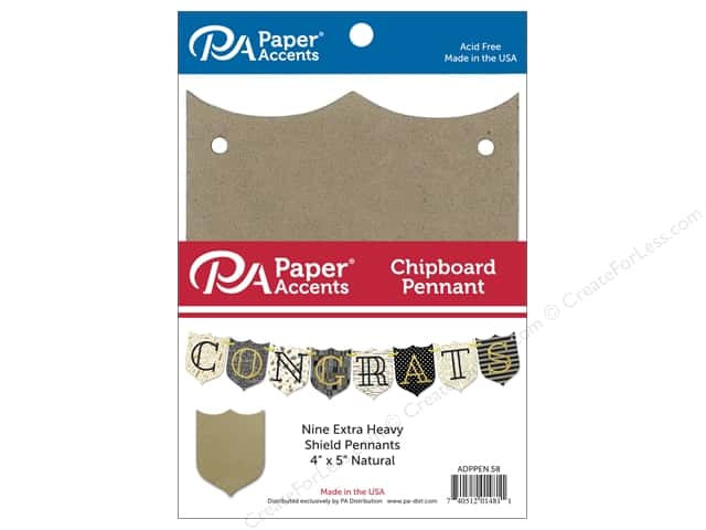 Paper Accents Chipboard Pennants 4 x 5 in. Shield 9 pc. Natural