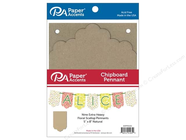 Paper Accents Chipboard Pennants 5 x 8 in. Floral Scallop 9 pc. Natural