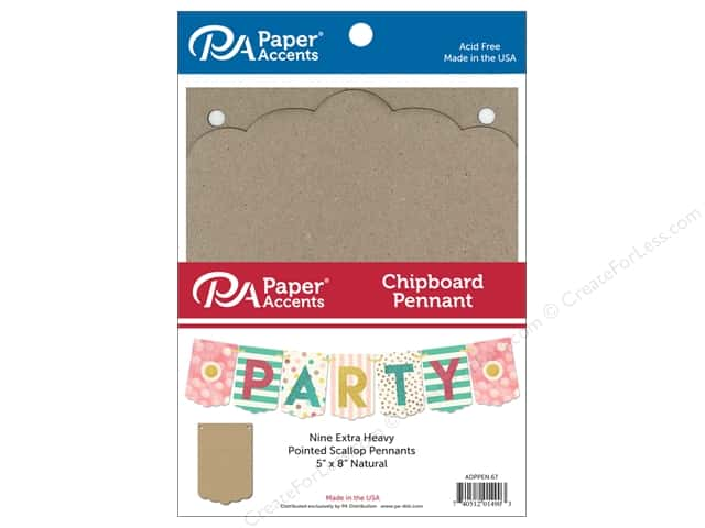 Paper Accents Chipboard Pennants 5 x 8 in. Pointed Scallop 9 pc. Natural