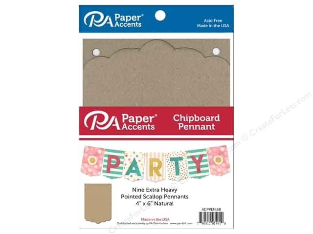 Paper Accents Chipboard Pennants 4 x 6 in. Pointed Scallop 9 pc. Natural