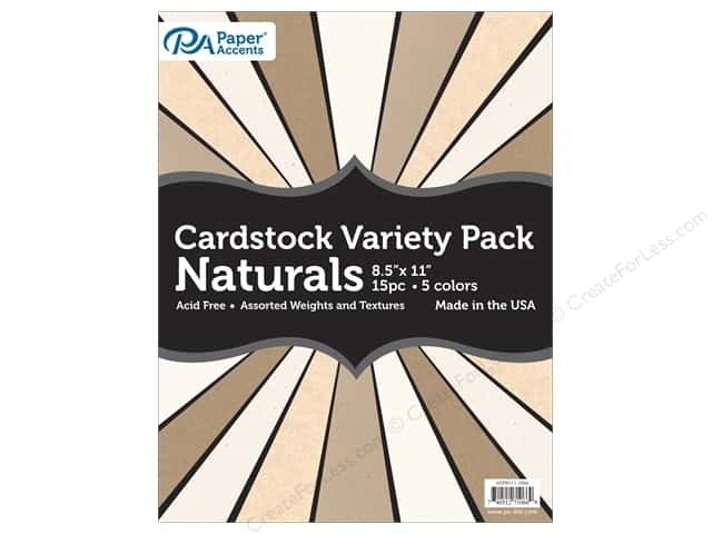 Paper Accents Cardstock Variety Pack 8 1/2 x 11 in. Naturals 15 pc.