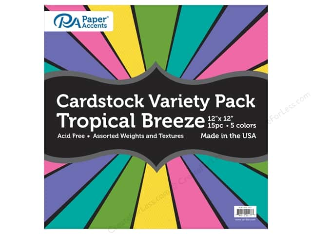 Paper Accents Cardstock Variety Pack 12 x 12 in. Tropical Breeze 15 pc.