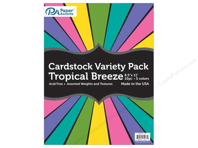 Paper Accents Cardstock Variety Pack 8 1/2 x 11 in. Tropical Breeze 15 pc.