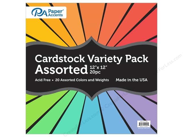 Paper Accents Cardstock Variety Pack 12 x 12 in. Assorted 20 pc.