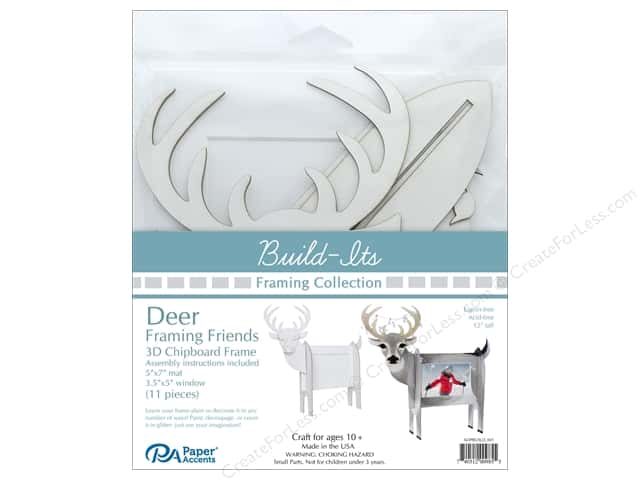 "Paper Accents Build Its Framing Friends 5""x 7"" Deer White"