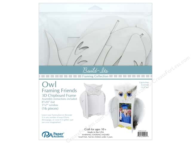 "Paper Accents Build Its Framing Friends 8""x 10"" Owl White"
