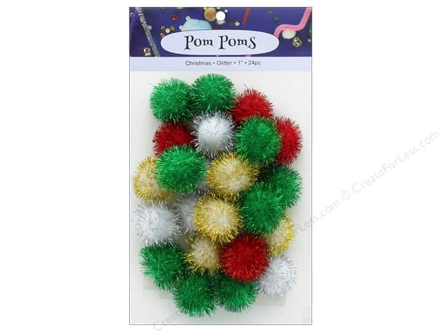 PA Essentials Pom Poms 1 in. Glitter Christmas 24 pc.