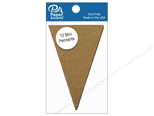 Paper Accents Chipboard Pennants 2 1/2 x 4 in. Mini 12 pc. Natural