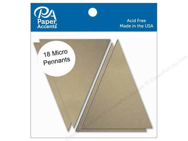 Paper Accents Chipboard Pennants 1 1/4 x 2 in. Micro 18 pc. Natural