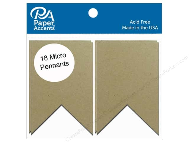 Paper Accents Chipboard Pennants 1 1/4 x 2 in. Micro Two Point 18 pc. Natural