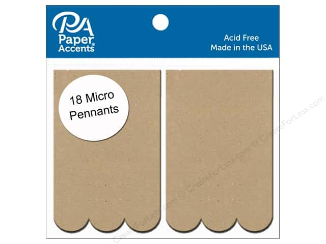 Paper Accents Chipboard Pennants 1 1/4 x 2 in. Micro Scallop Rectangle 18 pc. Natural