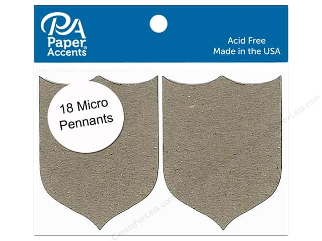 Paper Accents Chipboard Pennants 1 1/4 x 2 in. Micro Shield 18 pc. Natural
