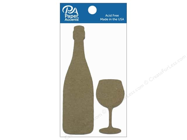 Paper Accents Chipboard Shape ine Bottle & Wide Bowl Wine Glass 8 pc. Natural