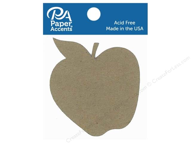 Paper Accents Chipboard Shape Apple 8 pc. Natural