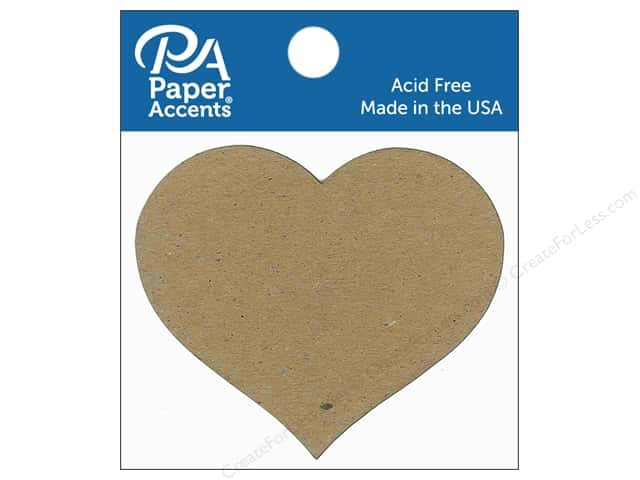 Paper Accents Chipboard Shape Heart #2 8 pc. Natural