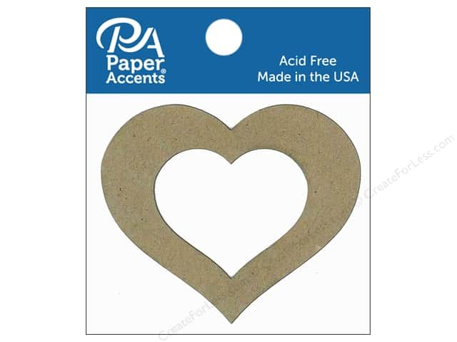Paper Accents Chipboard Shape Heart #2 with Window 8 pc. Natural