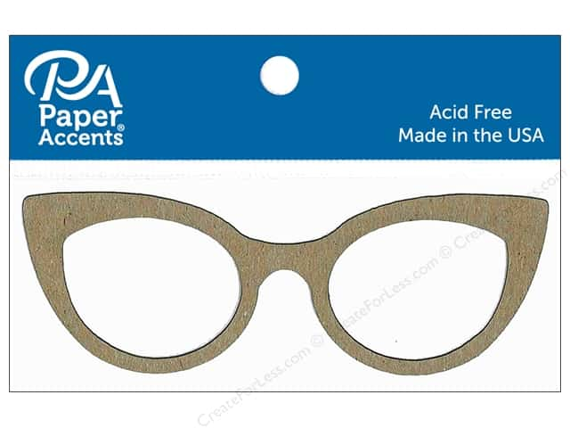 Paper Accents Chipboard Shape Eyeglasses 8 pc. Natural