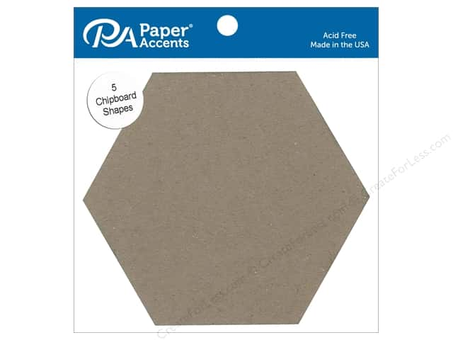 Paper Accents Chipboard Shape 7 1/2 in. Hexagon 5 pc. Natural