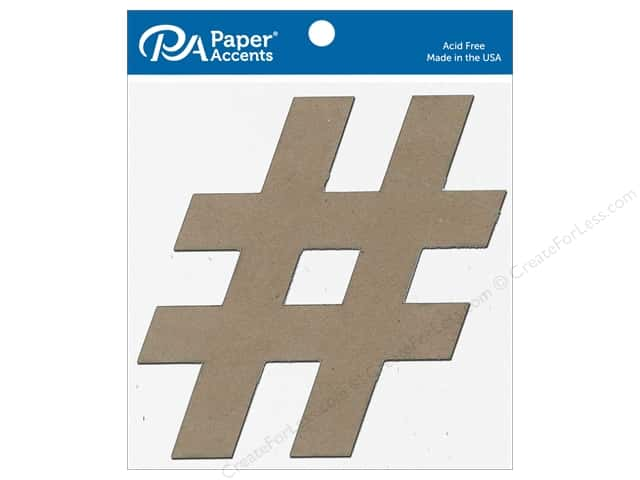 Paper Accents Chipboard Shape 8 in. Hashtag # 4 pc. Natural