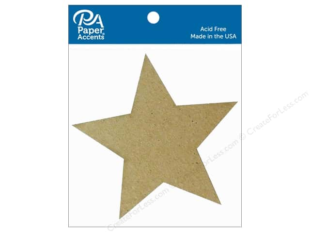 Paper Accents Chipboard Shape Star 8 pc. Natural
