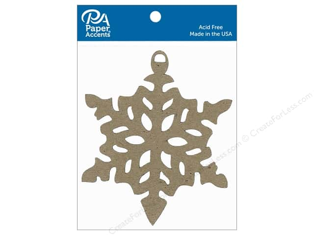 Paper Accents Chipboard Shape Ornament Snowflake 6 pc. Natural