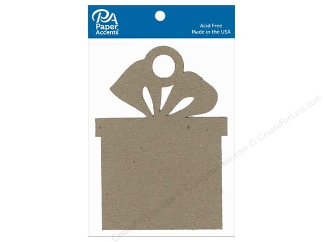 Paper Accents Chipboard Shape Present Ornament 6 pc. Natural