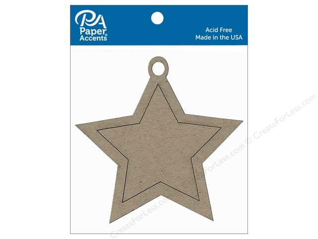 Paper Accents Chipboard Shape Ornament Star 6 pc. Natural