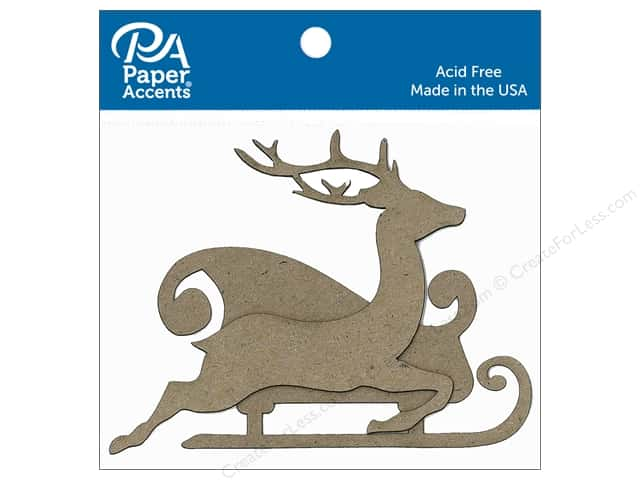 Paper Accents Chipboard Shape Sleigh with Reindeer 8 pc. Natural