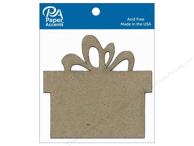 Paper Accents Chipboard Shape Present 8 pc. Natural