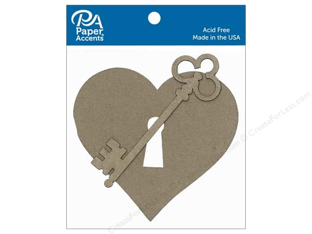 Paper Accents Chipboard Shape Heart With Lock & Key 6 pc. Natural