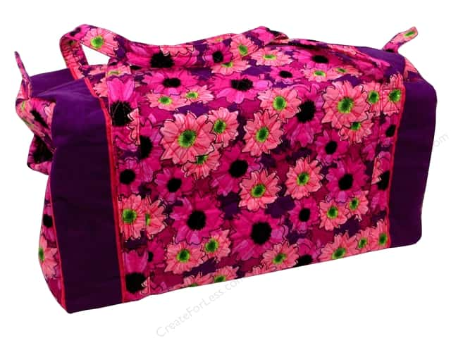 Darice Large Quilted Fabric Duffle Bag - Pink Floral -- CreateForLess