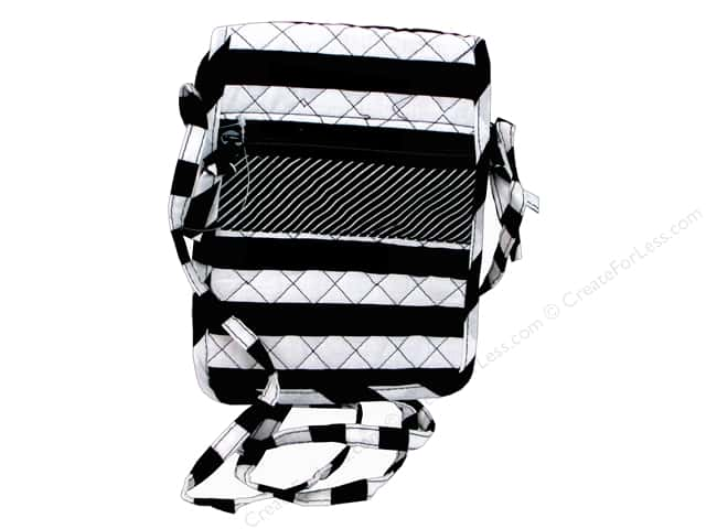 Darice Quilted Small Crossbody Hipster Bag - Black & White Stripes