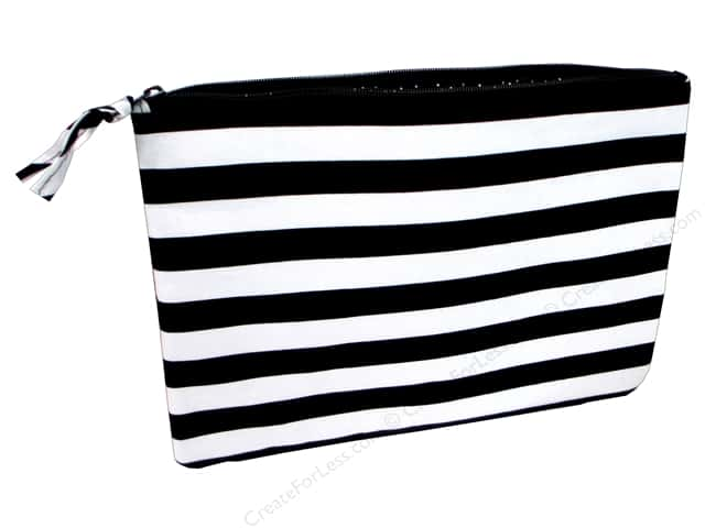 Darice All-Purpose Zippered Fabric Pouch - Black & White Stripes