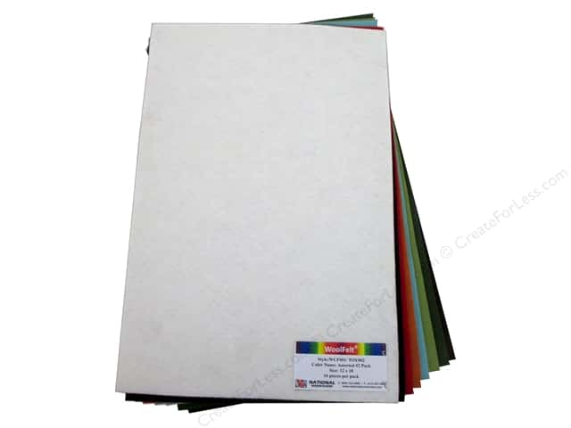 National Nonwovens 20% and 35% Wool Felt 12 x 18 in. Dark Accents (16 sheets)