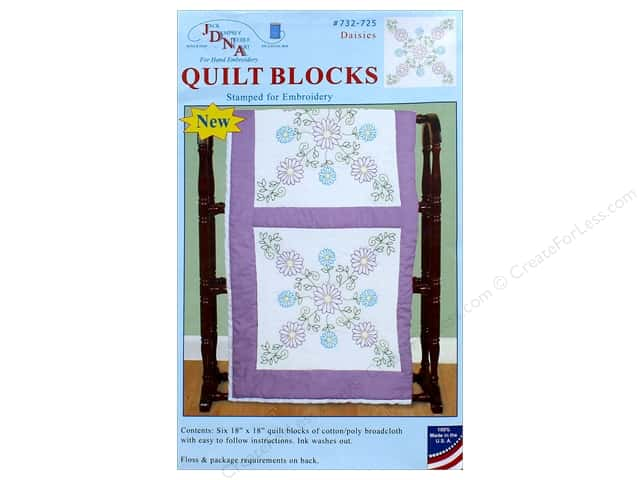 Jack Dempsey Quilt Block 18 in. White Daisies 6 pc